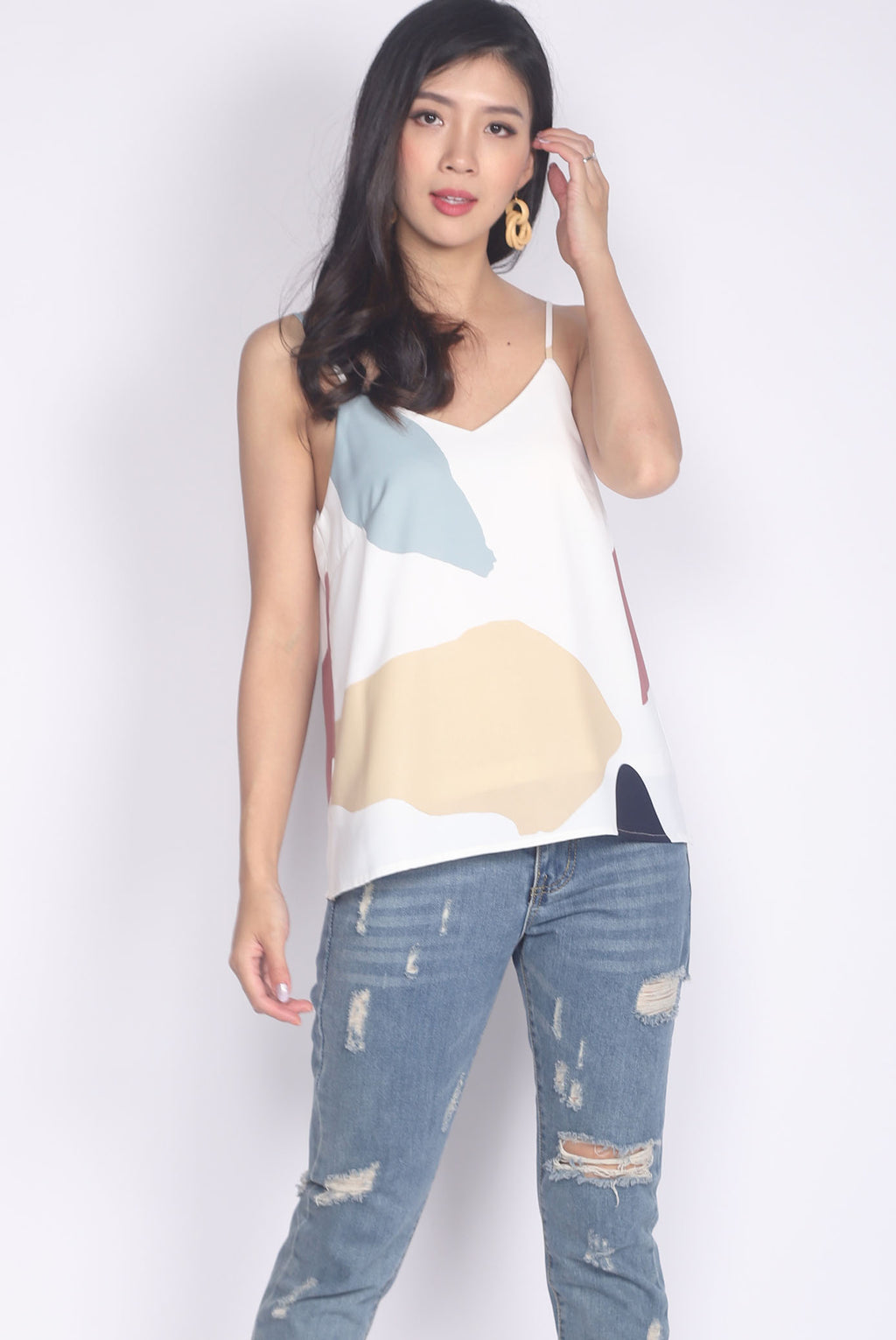 *Restocked* Mariot Abstract Camisole Top In White