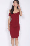 Marissa Off Shoulder Dress In Wine Red