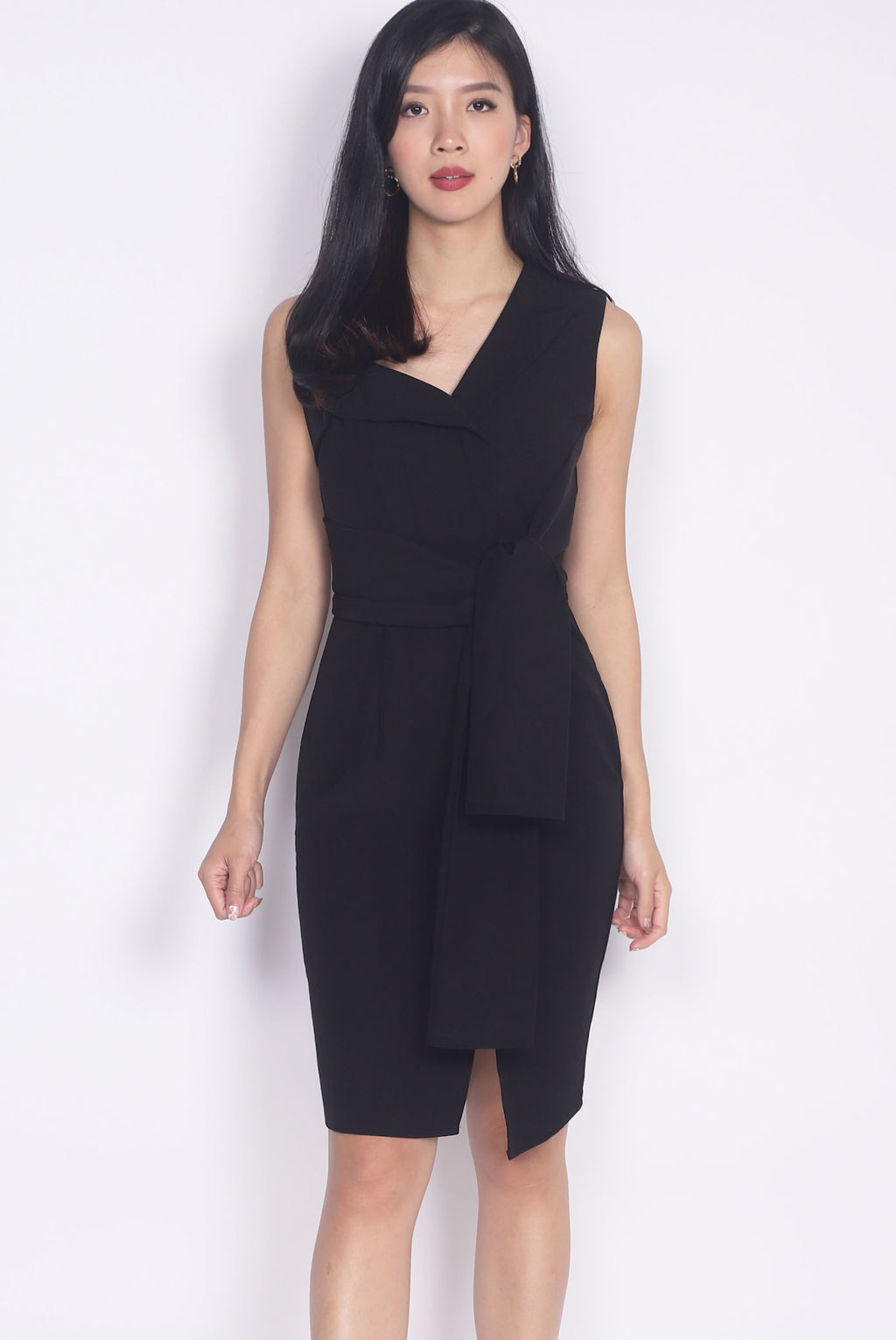*Premium* Marlowe Tie Waist Work Dress In Black