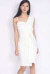 *Premium* Marlowe Tie Waist Work Dress In White