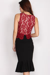 Martha Lace Crop Top In Wine Red