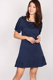 Maryam Princess Sleeve Pleated Dress In Navy Blue