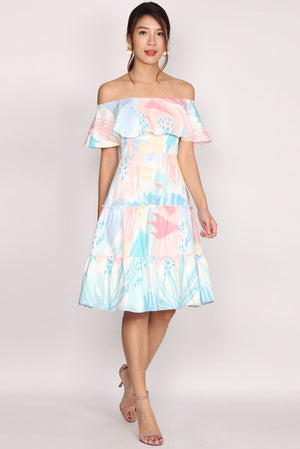 Mathilde Off Shoulder Tiered Dress In Abstract