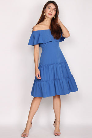 Mathilde Off Shoulder Tiered Dress In Blue