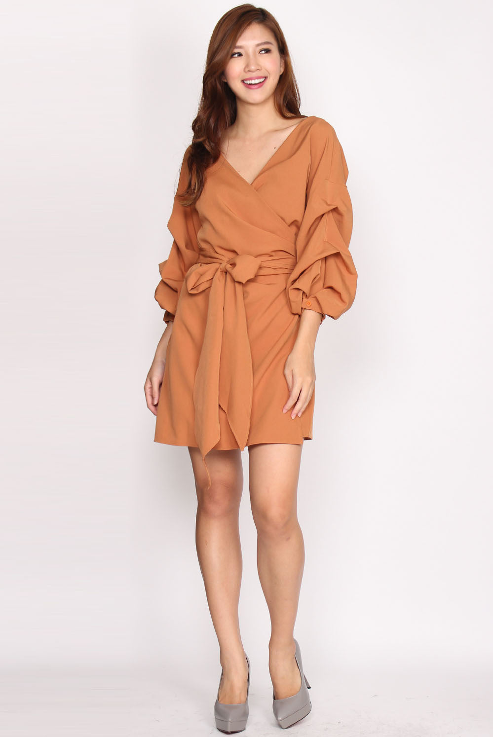 *Restock* Maud Balloon Sleeve Wrap Dress In Camel