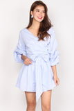 *Restock* Maud Balloon Sleeve Wrap Romper In Blue Stripes