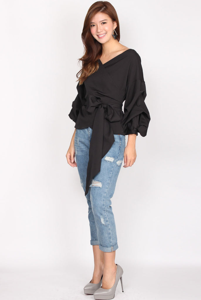 Maud Balloon Sleeve Wrap Top In Black