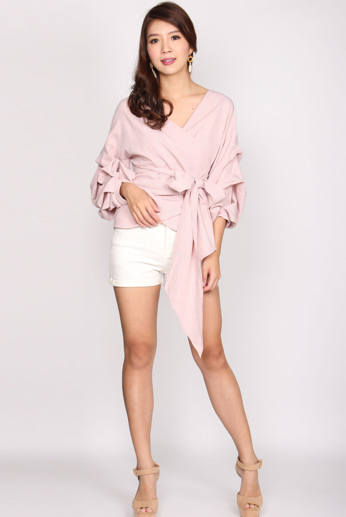 Maud Balloon Sleeve Wrap Top In Pink Plaids