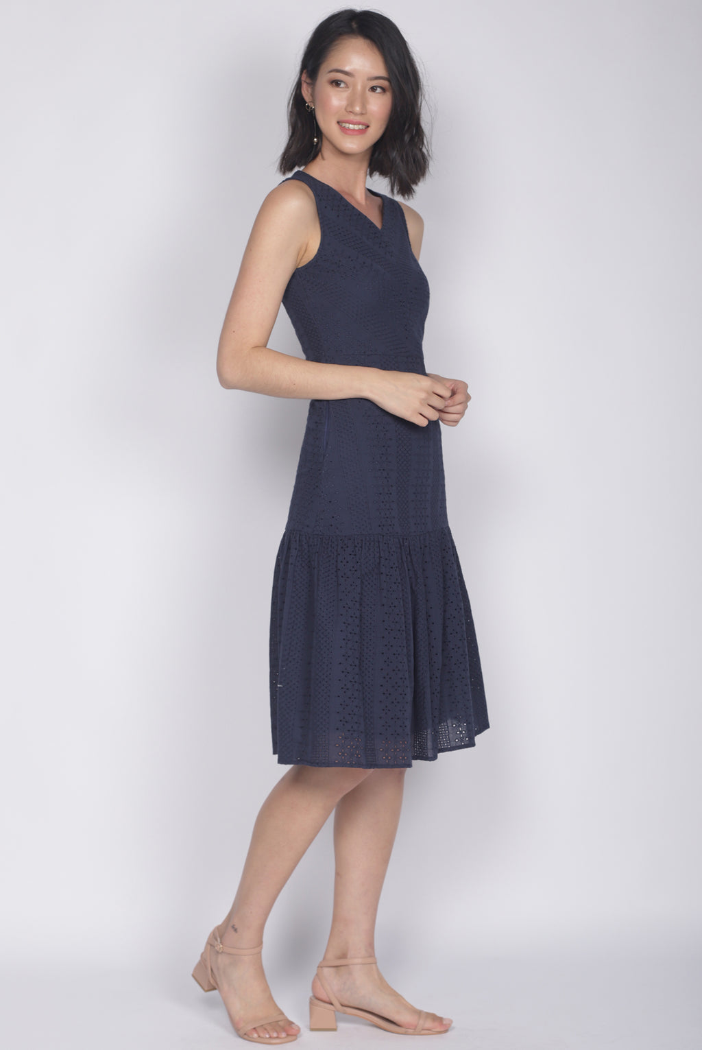 Meadow Eyelet Dress In Navy Blue