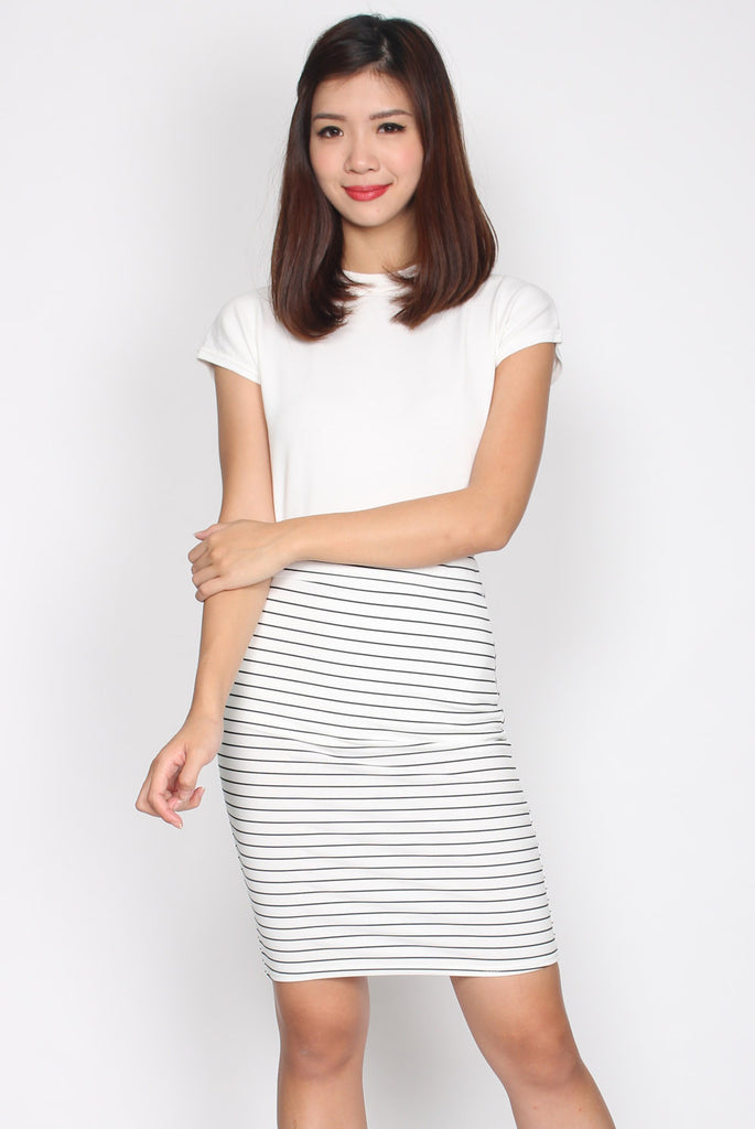 *Restocked* Meggan High Waisted Pencil Skirt In White Stripes