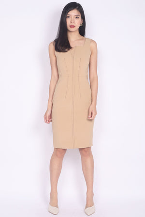 *Premium* Melwyn Dotted Line Pencil Dress In Camel