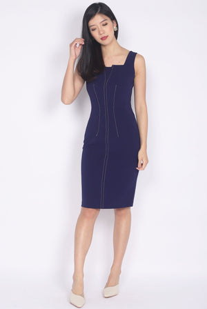 *Premium* Melwyn Dotted Line Pencil Dress In Navy Blue