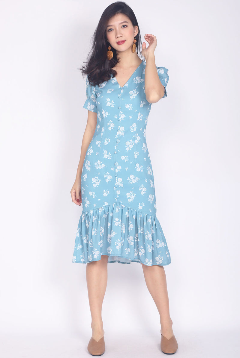 Merivale Buttons Sleeve Mermaid Maxi Dress In Jade Blue