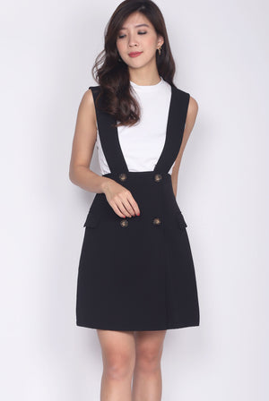 Merlin Buttons Pinafore Skirt In Black
