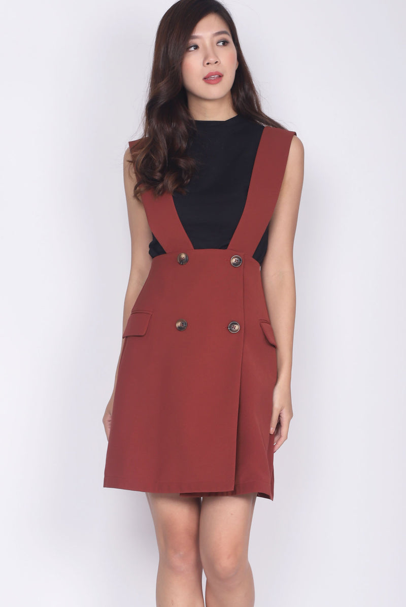 Merlin Buttons Pinafore Skirt In Terracotta