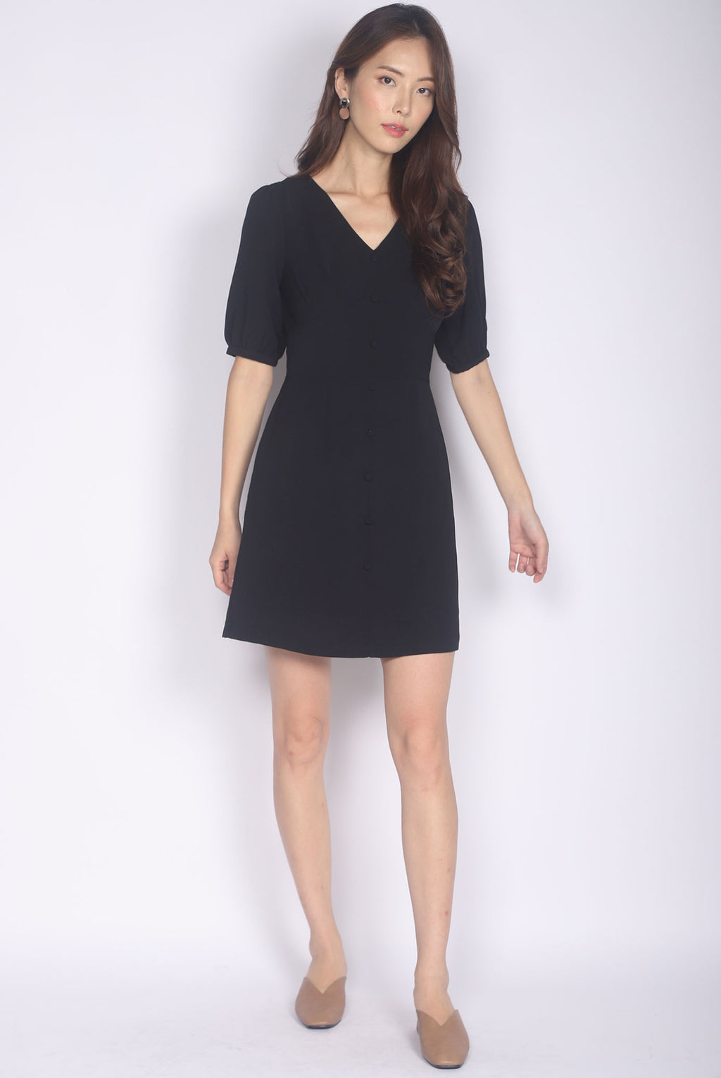 Mertice Sleeved Buttons Dress In Black
