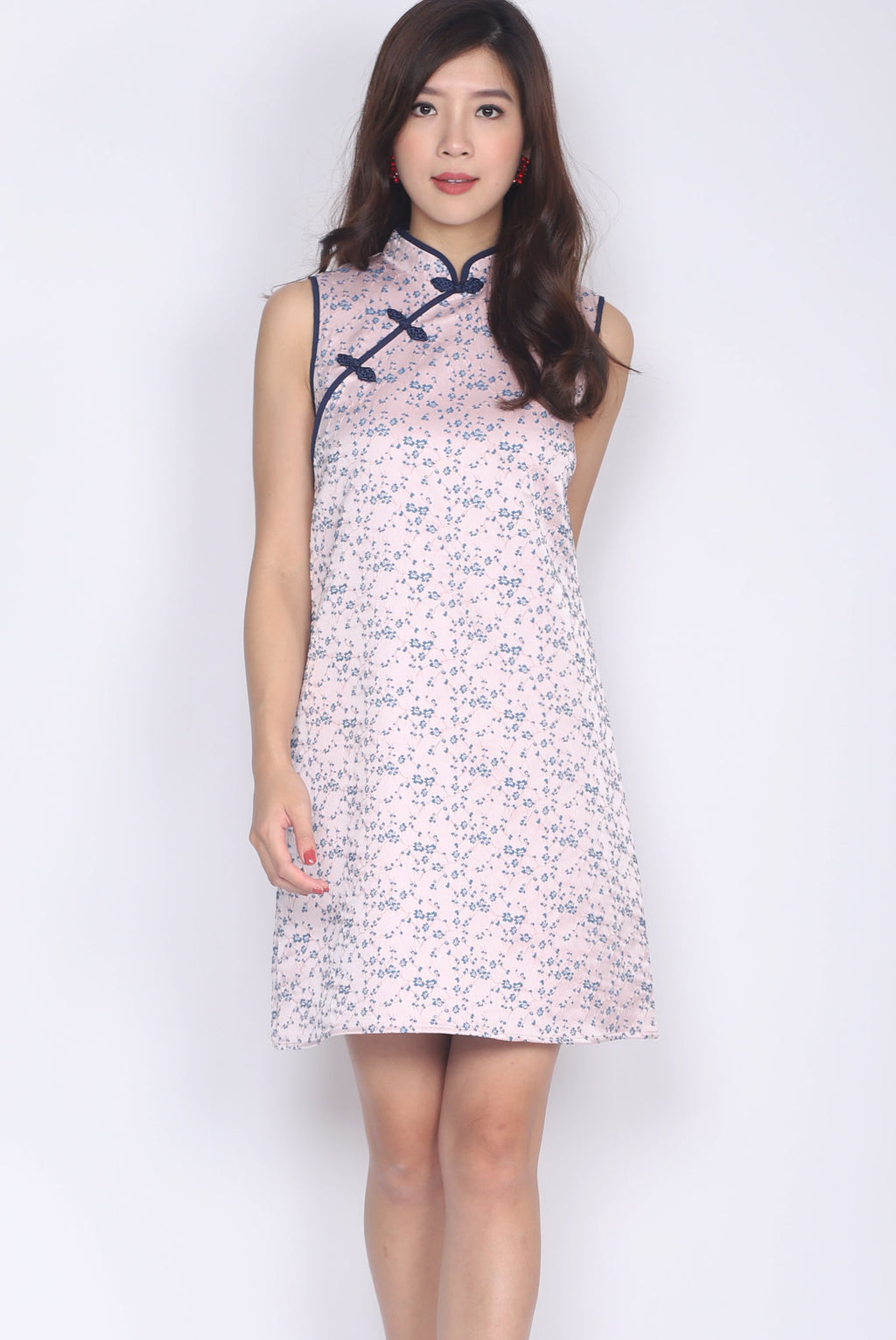 Mieth Oriental Texture Cheong Sam Dress In Pink/Navy