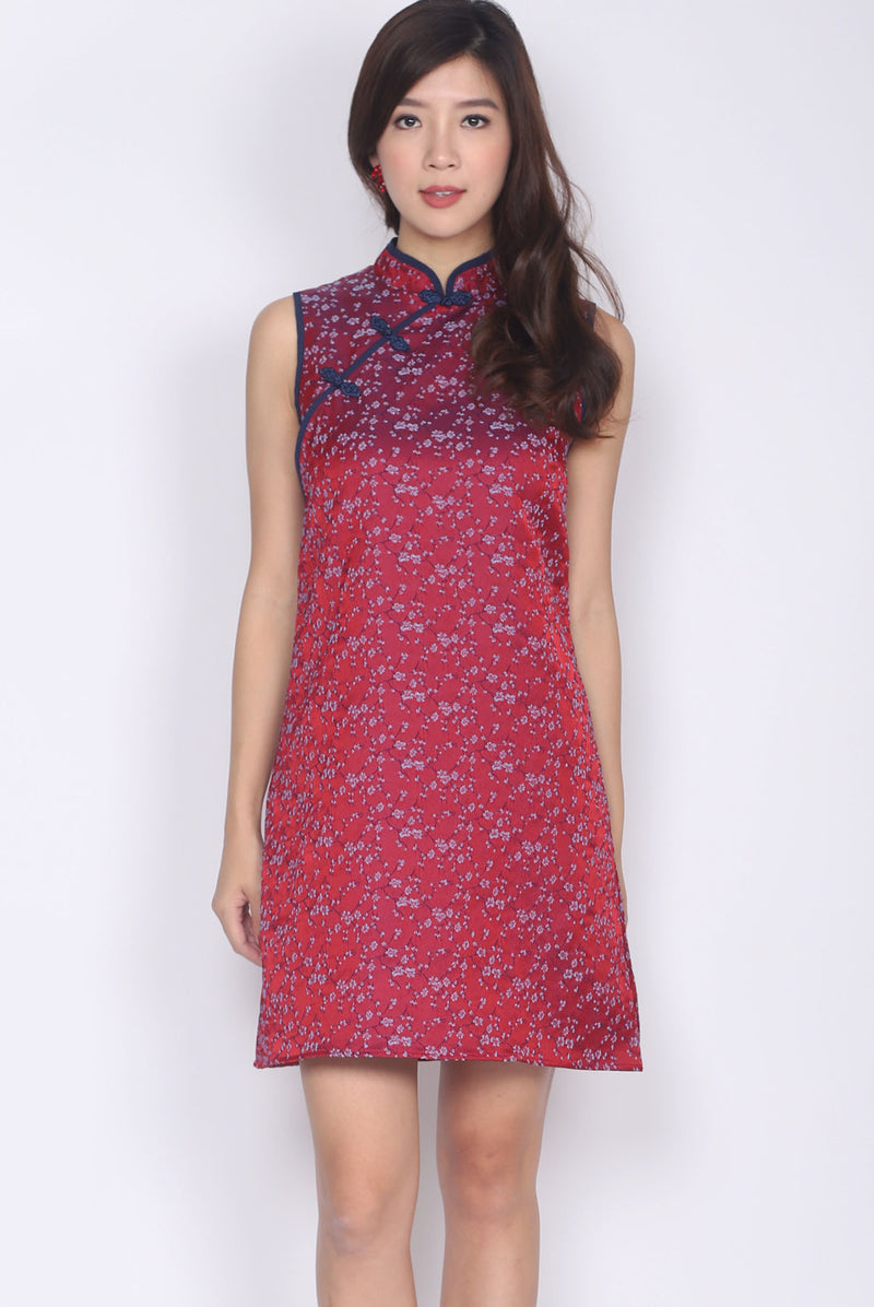 Mieth Oriental Texture Cheong Sam Dress In Wine/Navy