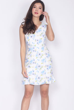 Mijora Watercolour Floral Dress In Blue