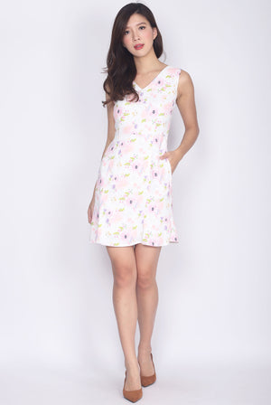 Mijora Watercolour Floral Dress In Pink