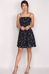 Mildred Spag Strap Cascade Dress In Midnight Blue