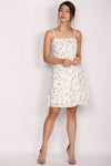Mildred Spag Strap Cascade Dress In White