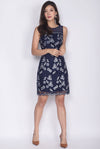 Minelli Mesh Floral Lace Dress In Navy Blue