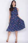 Misako Tiered Cheong Sam Midi Dress In Navy Floral