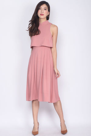 Misako Tiered Cheong Sam Midi Dress In Tea Rose