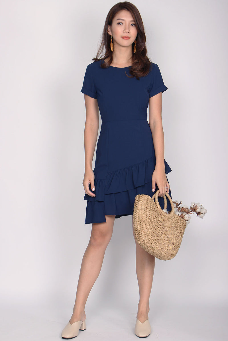 Moellyn Double Hem Dress In Navy Blue