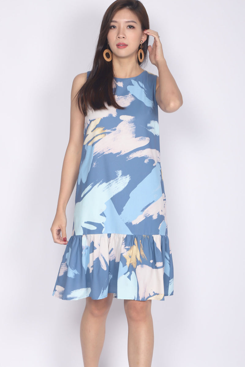 Molly Brush Drop Hem Dress In Navy Blue