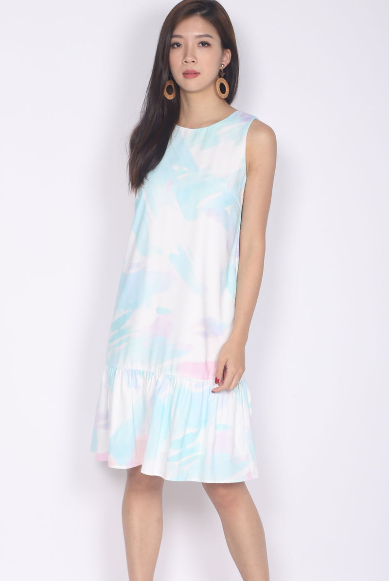 Molly Brush Drop Hem Dress In White