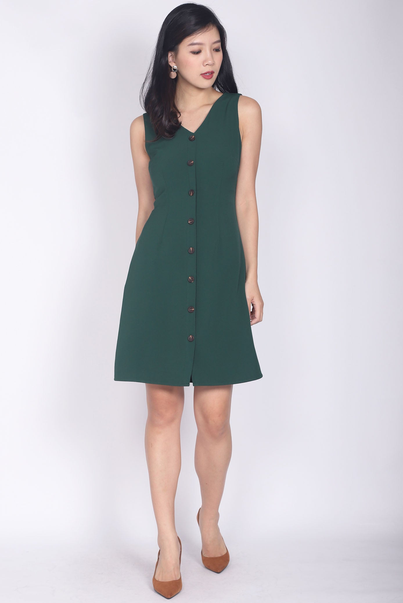2e984d36bfc Monique V Neck Buttons Down Dress In Forest Green – The Design Closets