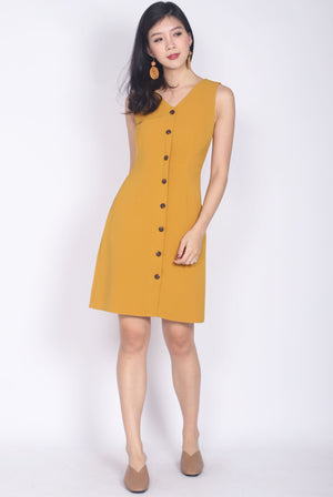 Monique V Neck Buttons Down Dress In Mustard
