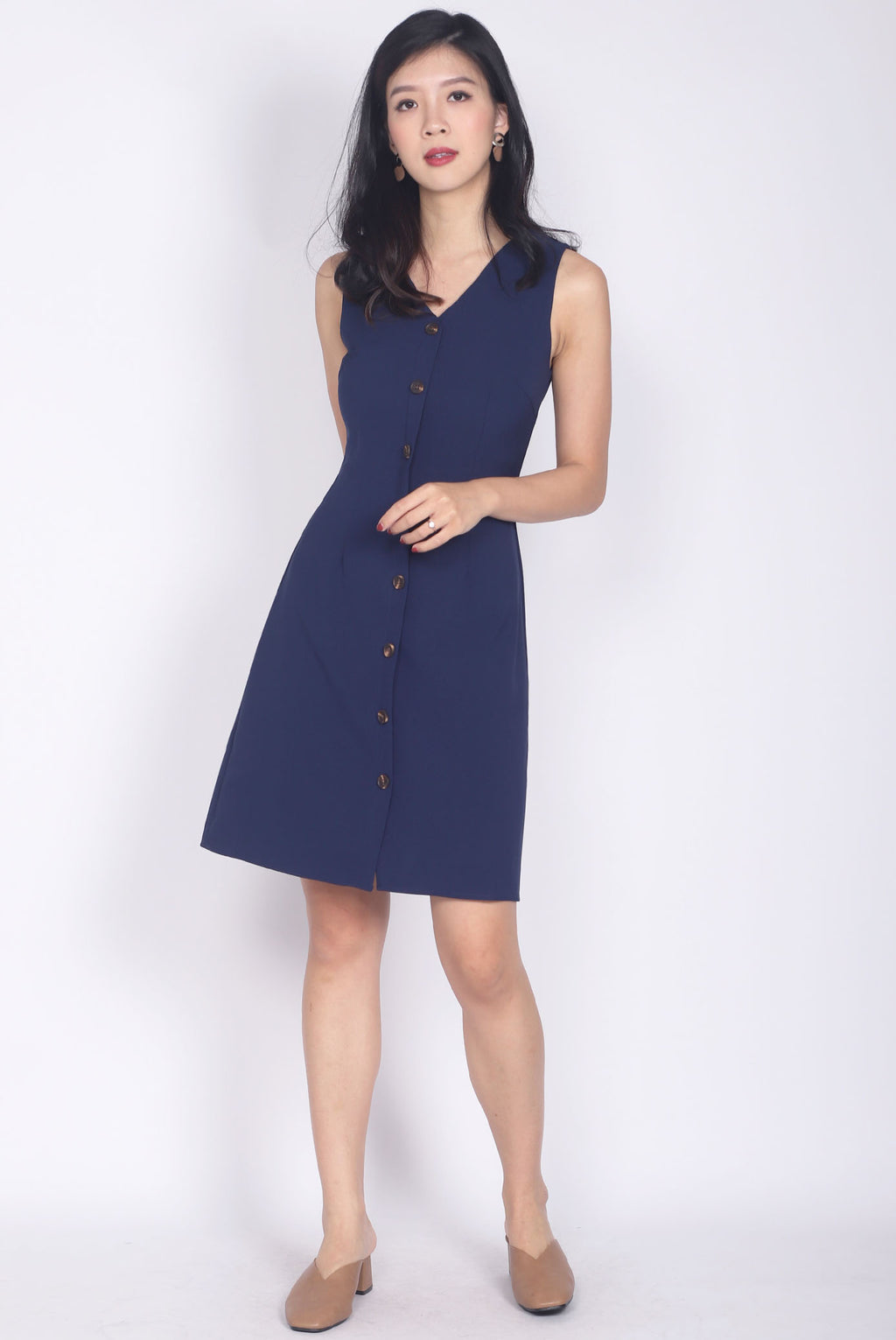 Monique V Neck Buttons Down Dress In Navy Blue
