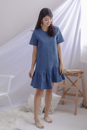 Monnie Step Denim Sleeve Dress In Dark Wash