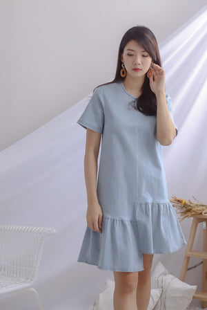 Monnie Step Denim Sleeve Dress In Light Wash