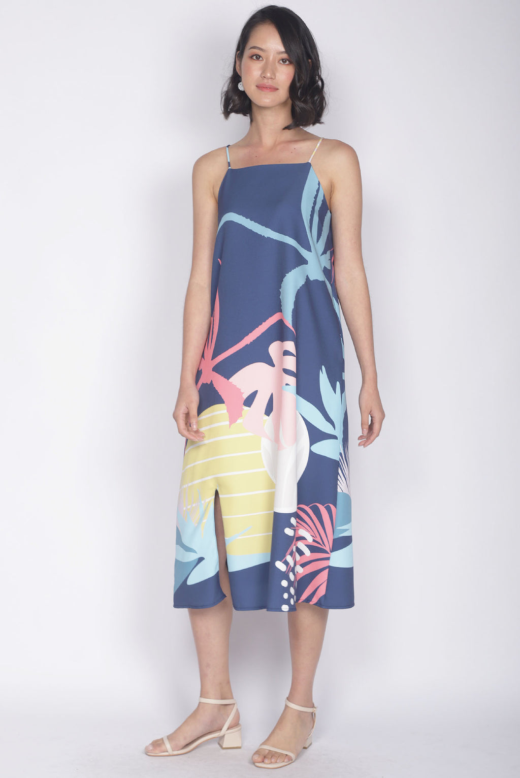 Monstera Trapeze Dress In Navy Blue