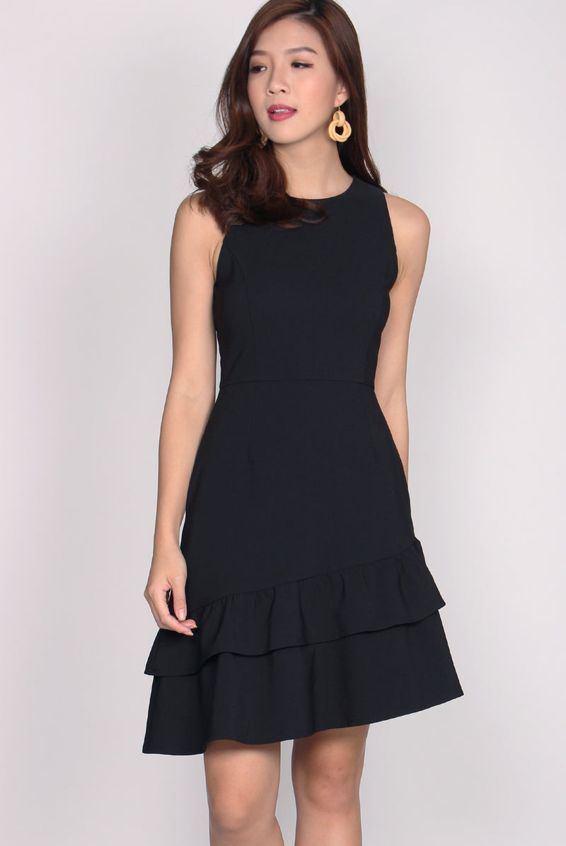 Montez Double Flutter Drophem Dress In Black