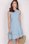 Montez Double Flutter Drophem Dress In Skyblue