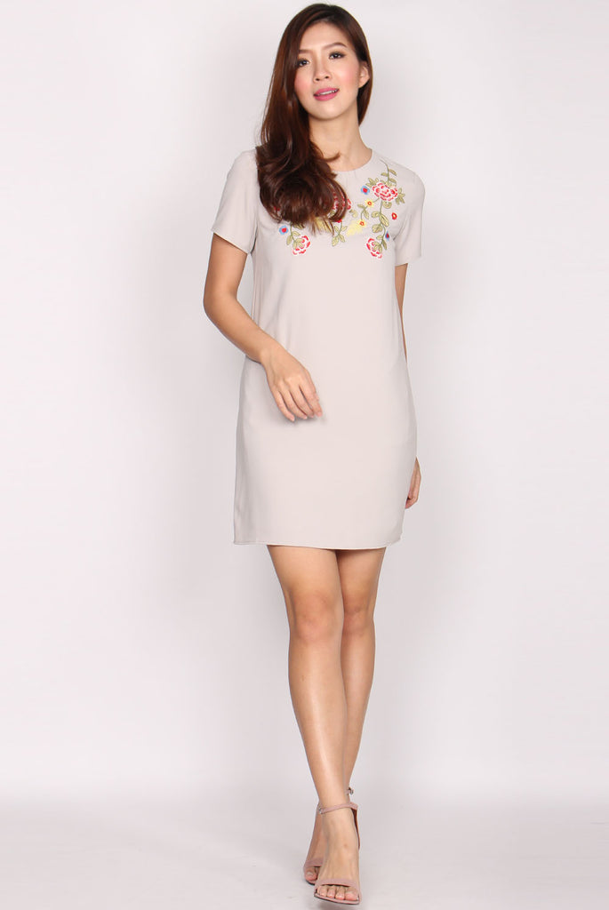 Monty Embroidery Sleeve Dress In Grey