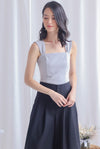 *Premium* Moriah Ruched Strap Top In Grey