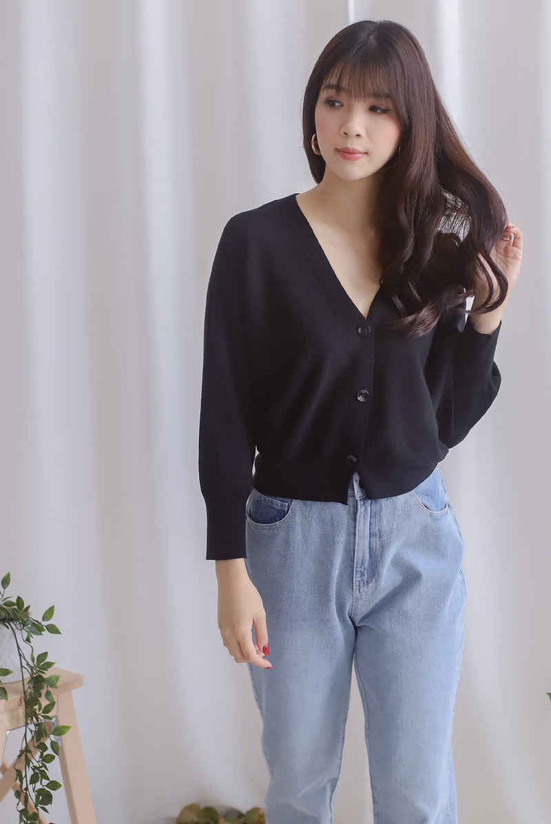 Morlie Batwing Knit Cardigan In Black