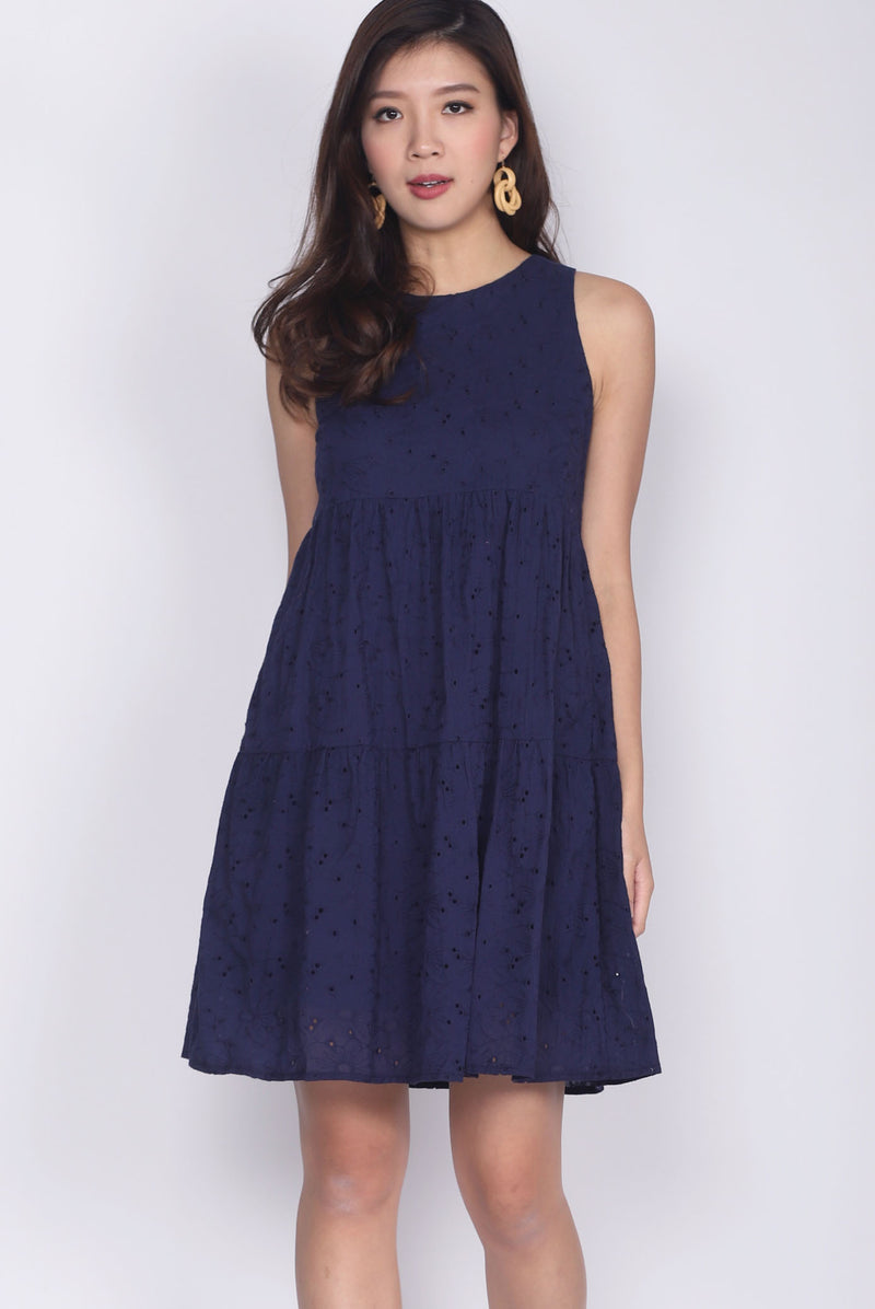 Moselle Eyelet Tiered Babydoll Dress In Navy Blue