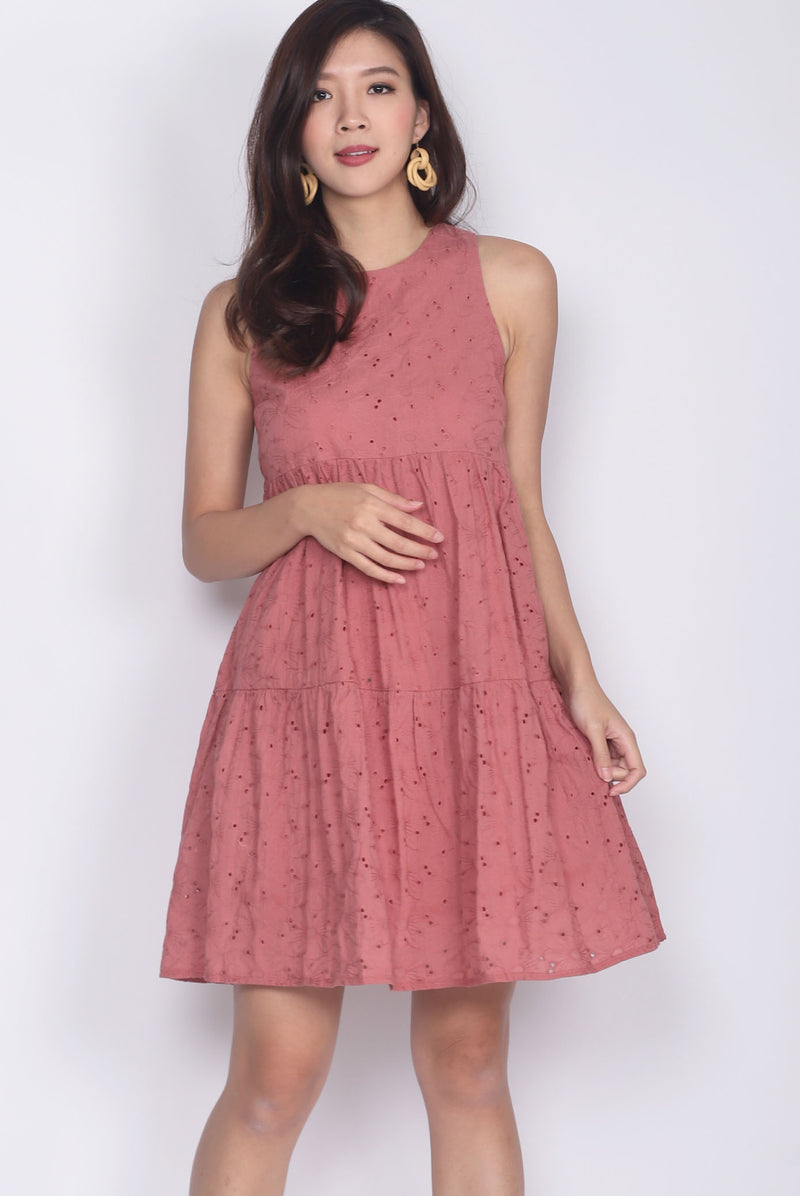 Moselle Eyelet Tiered Babydoll Dress In Tea Rose