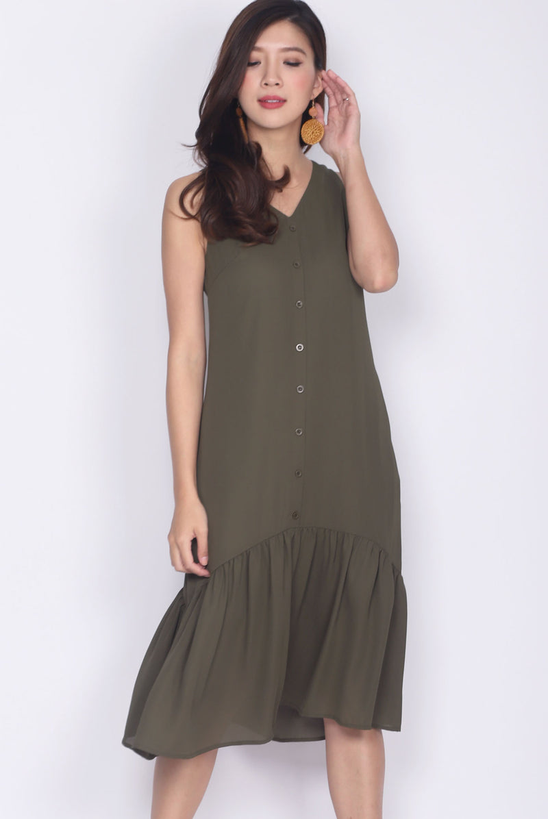 Myri Buttons Down Drop Hem Dress In Olive