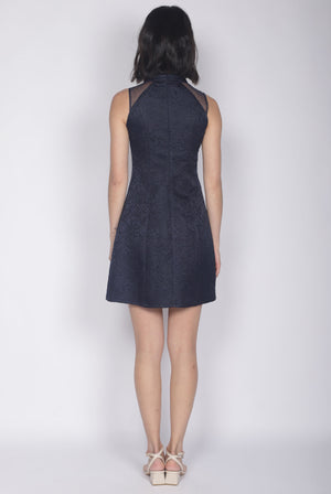 Nalla Embro Cheongsam Dress In Navy Blue