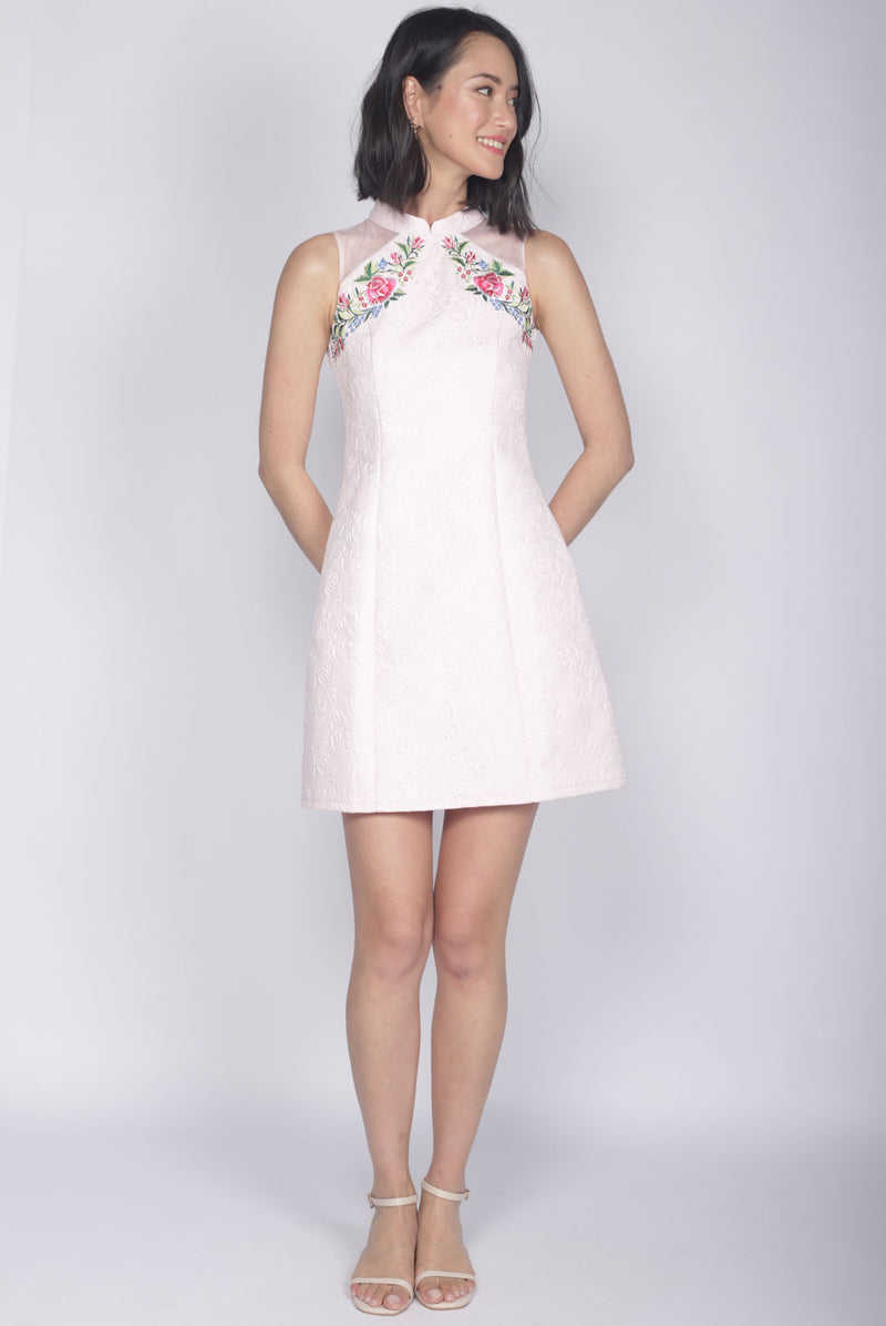 Nalla Embro Cheongsam Dress In Pink