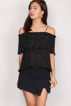 Nancsi Polkadot Pleated Top In Black