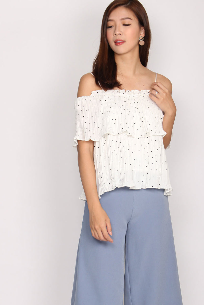 Nancsi Polkadot Pleated Top In White